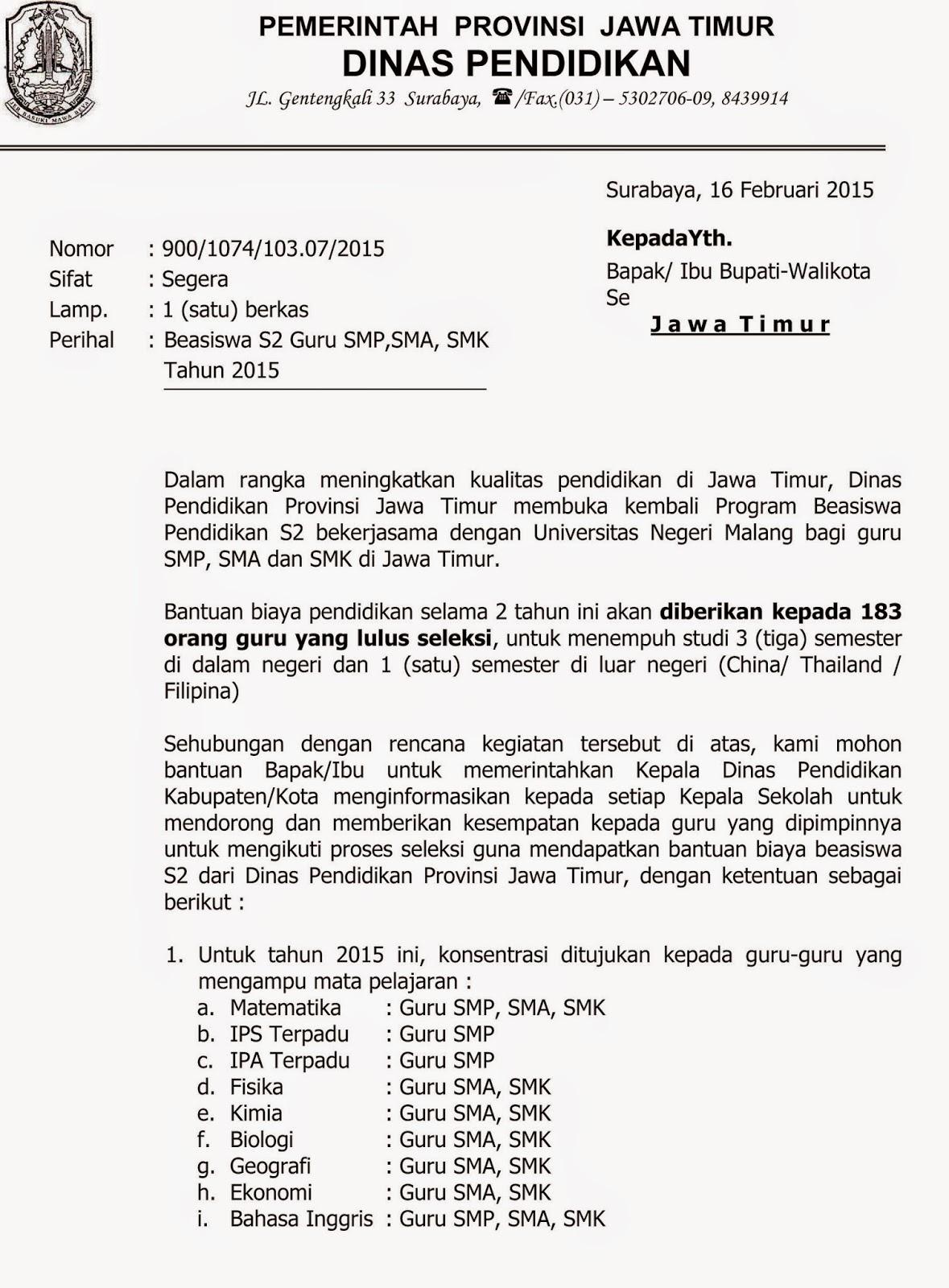Beasiswa S2 Jawa Timur Kkg Satu Bojonegoro